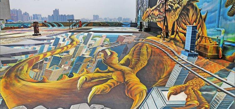 【特搜】高雄超好拍景點!巨龍出沒!時空之城3D「巨型空中彩繪」